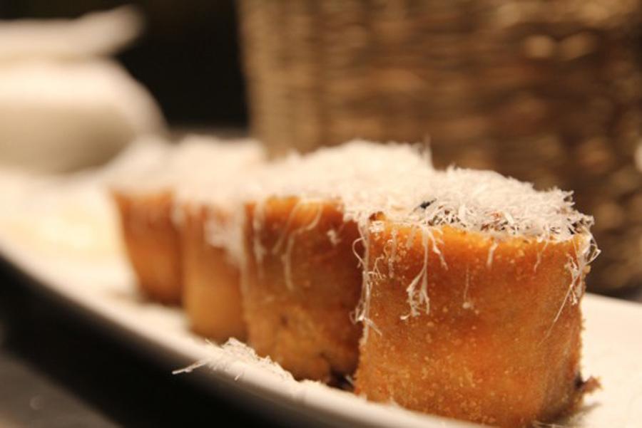 Flamenquín de setas, hongos y queso parmesano de Lamoraga