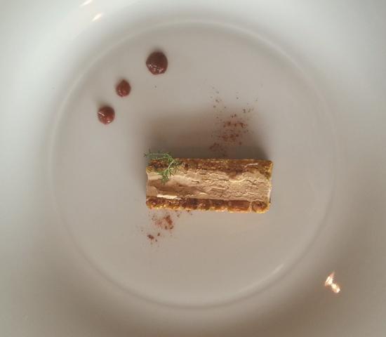 Turrón de foie Malvasía con mermelada de higos de Restaurante Baluarte (Soria)