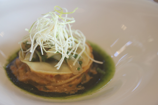 Lasaña de sepia con verduritas del Restaurante Laia en Hondarribia