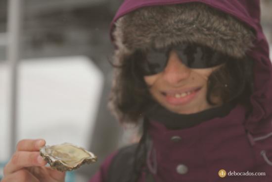 Degustación de ostras en la nieve